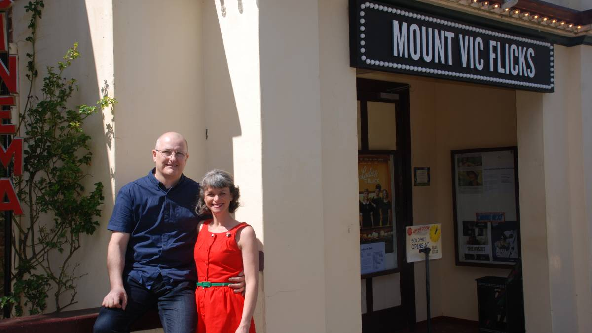 Number one: Adam Cousins and Kirsten Mulholland outside their cinema, voted the best regional cinema in Australia.