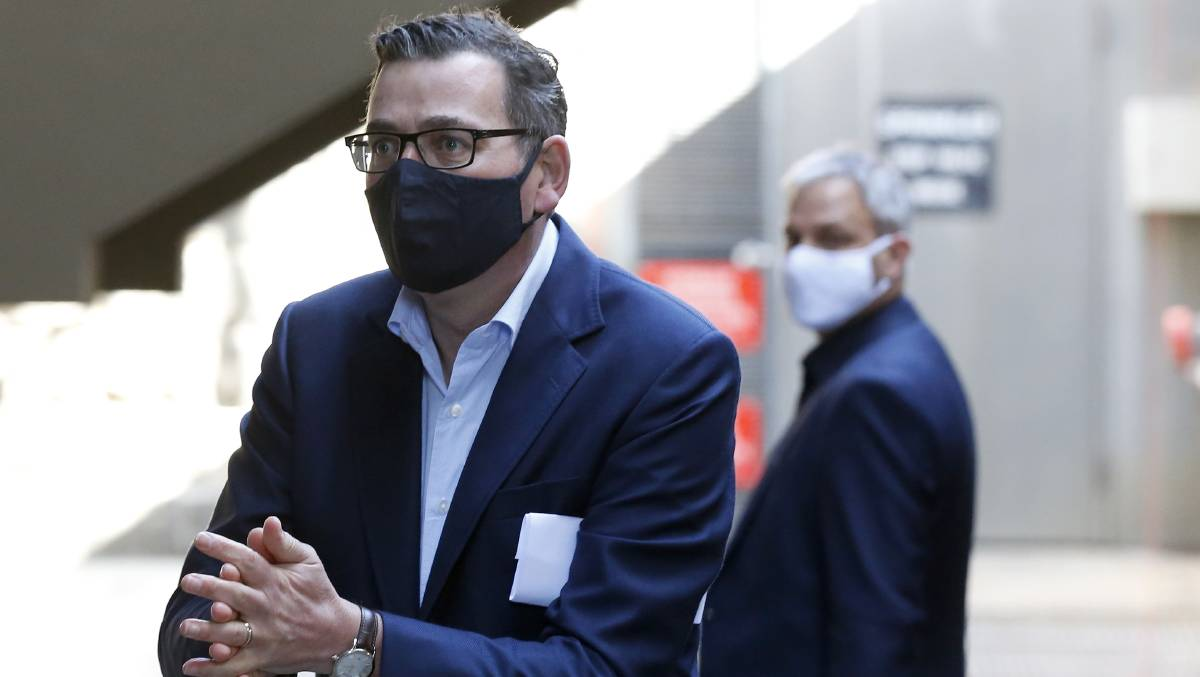 Victoria Premier Daniel Andrews at Friday's daily briefing. Picture: Getty Images