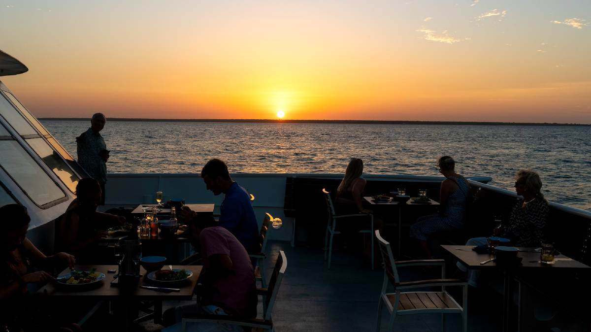 Dinner with a view on a catamaran with Darwin Harbour Cruises. Picture: Michael Turtle