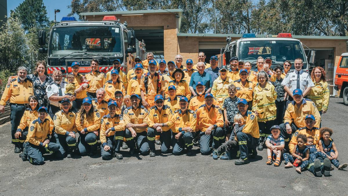 Blue Mountains MP Trish Doyle (standing, second from left) with members of the Katoomba-Leura Rural Fire Service Brigade.
