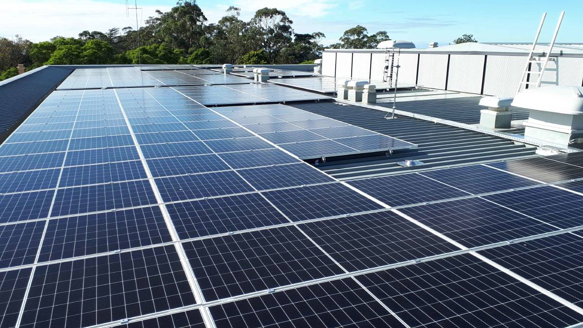 Solar panels installed on the roof of the Blue Mountains Theatre and Community Hub in Springwood.