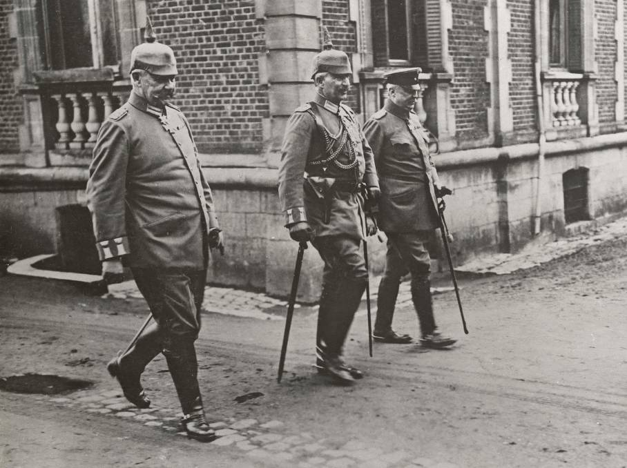 ATTACK: Kaiser Wilhelm II of Germany (centre) with Field Marshal Paul von Hindenburg (left) and General Erich Ludendorff. PHOTO: AWM H12377